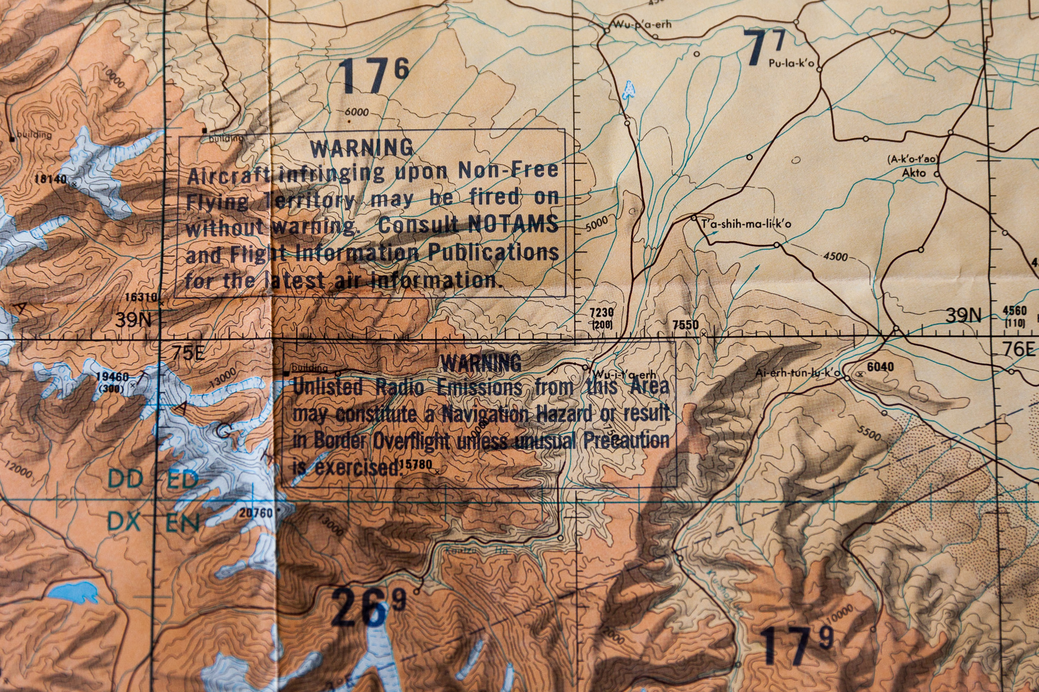 Cold War Pilot Chart found in a hunting camp in the Pamirs. Photo: Martin Saxer, 2015.